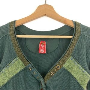 Free People Tops - Free People Green Thermal Nordic Nuzzle Top